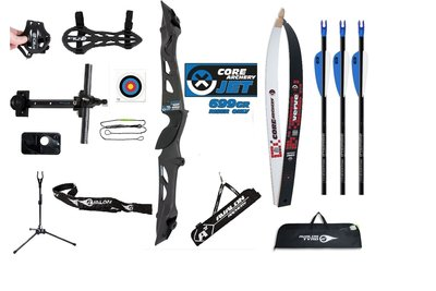 Voordeelset PLUS - CORE Jet Metal Black & White recurve handboog complete set